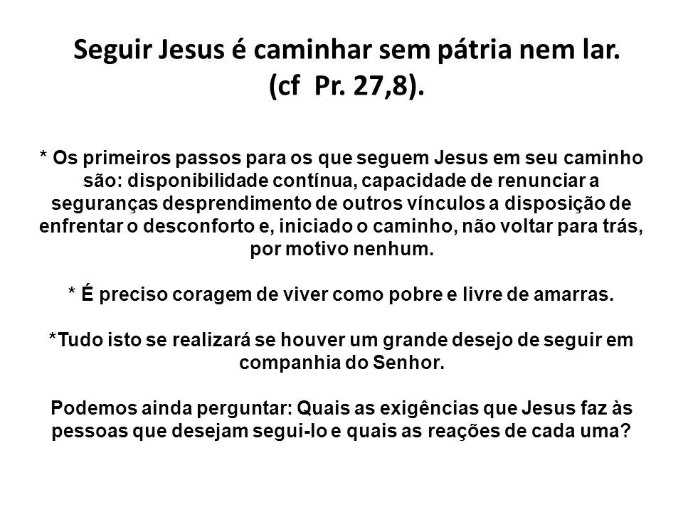 Seguir Jesus é caminhar sem pátria nem lar. (cf Pr. 27,8). * Os primeiros passos para os que seguem Jesus em seu caminho são: disponibilidade contínua