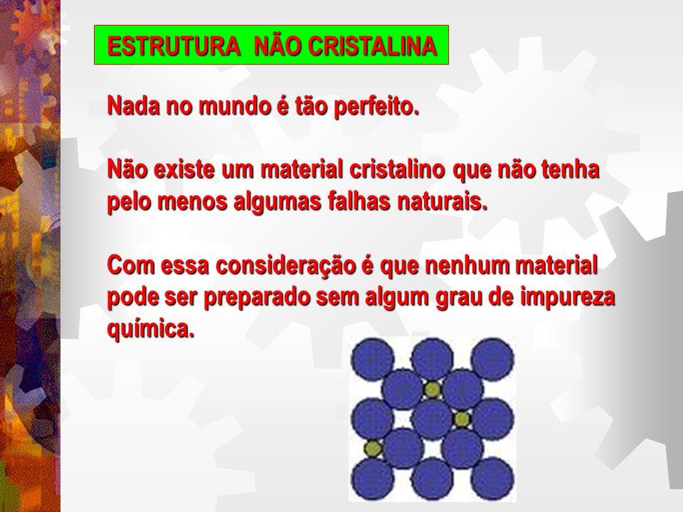 ESTRUTURA NÃO CRISTALINA Os átomos ou íons de impureza na solução sólida resultante servem para alterar a regularidade estrutural do material idealmente puro.