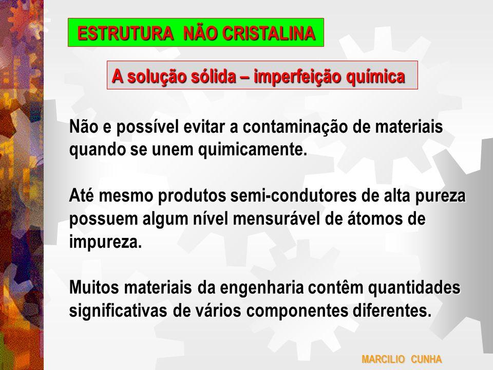 MARCILIO CUNHA ESTRUTURA NÃO CRISTALINA A solução sólida – imperfeição química Como resultado,todos os materiais com os quais o engenheiro lida diariamente são na realidade, soluções sólidas.