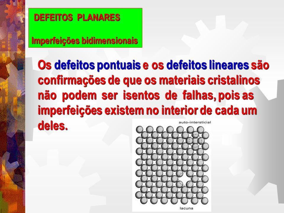 DEFEITOS PLANARES Imperfeições bidimensionais Um contorno gêmeo, ou de macla, separa duas regiões cristalinas estruturalmente imagens espelho entre si.
