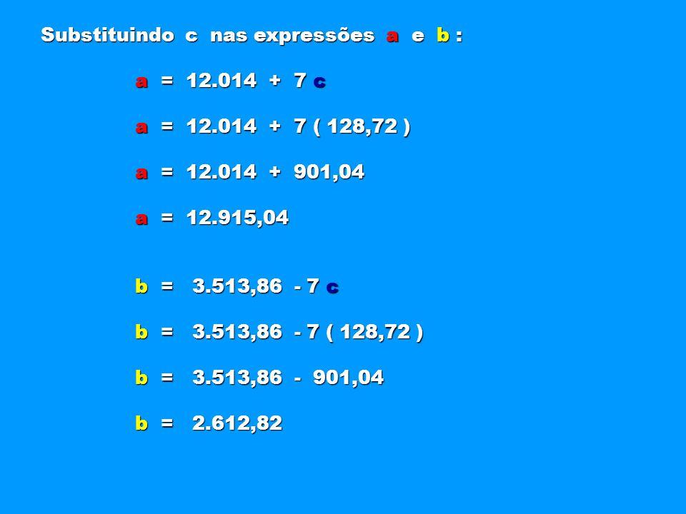 Substituindo c nas expressões a e b : a = 12.014 + 7 c a = 12.014 + 7 c a = 12.014 + 7 ( 128,72 ) a = 12.014 + 7 ( 128,72 ) a = 12.014 + 901,04 a = 12