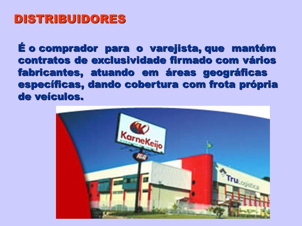 DISTRIBUIDORES É o comprador para o varejista, que mantém contratos de exclusividade firmado com vários fabricantes, atuando em áreas geográficas espe