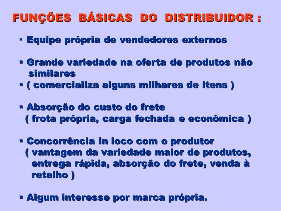 FUNÇÕES BÁSICAS DO DISTRIBUIDOR : Equipe própria de vendedores externos Grande variedade na oferta de produtos não Grande variedade na oferta de produ