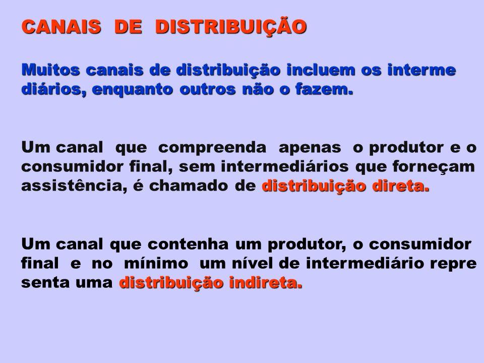 CANAIS DE DISTRIBUIÇÃO Muitos canais de distribuição incluem os interme diários, enquanto outros não o fazem. Um canal que compreenda apenas o produto