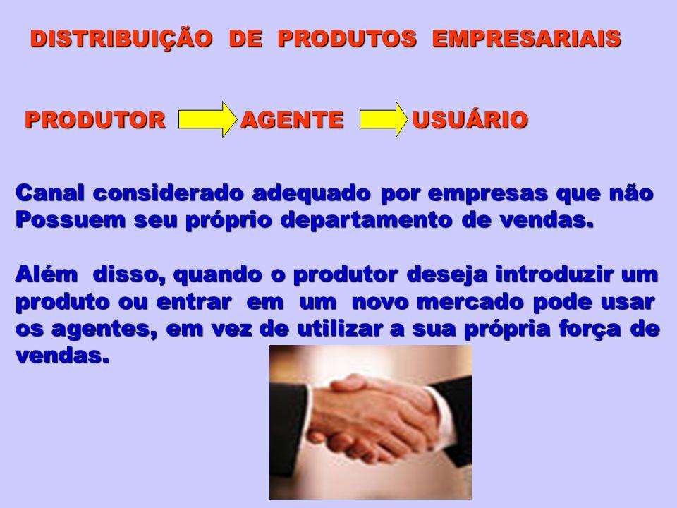 PRODUTOR AGENTE USUÁRIO Canal considerado adequado por empresas que não Possuem seu próprio departamento de vendas. Além disso, quando o produtor dese