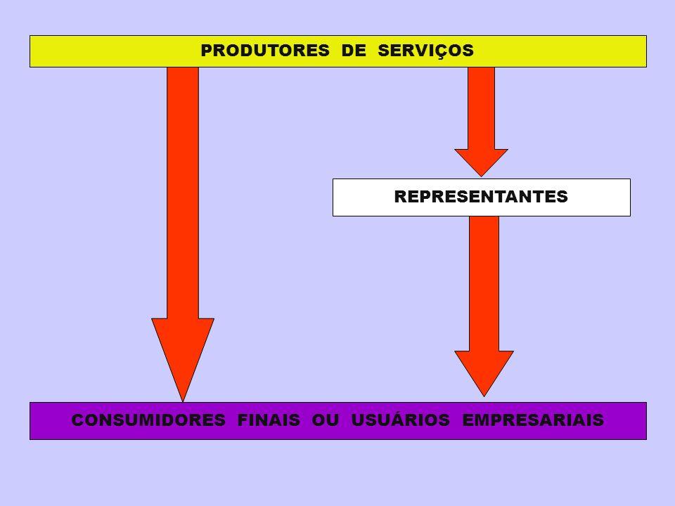 PRODUTORES DE SERVIÇOS REPRESENTANTES CONSUMIDORES FINAIS OU USUÁRIOS EMPRESARIAIS