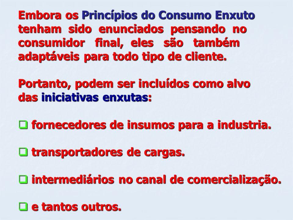 Embora os Princípios do Consumo Enxuto tenham sido enunciados pensando no consumidor final, eles são também adaptáveis para todo tipo de cliente. Port