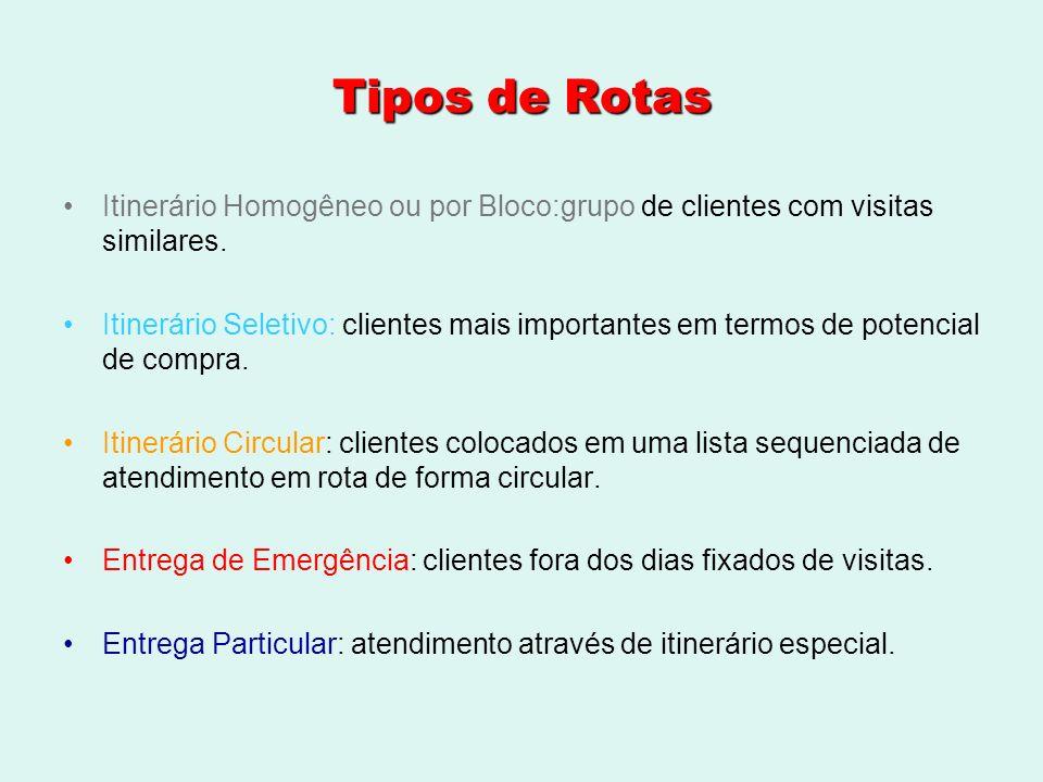 Tipos de Rotas Itinerário Homogêneo ou por Bloco:grupo de clientes com visitas similares. Itinerário Seletivo: clientes mais importantes em termos de