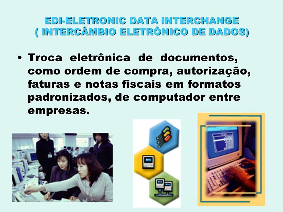 EDI-ELETRONIC DATA INTERCHANGE ( INTERCÂMBIO ELETRÔNICO DE DADOS) Troca eletrônica de documentos, como ordem de compra, autorização, faturas e notas f