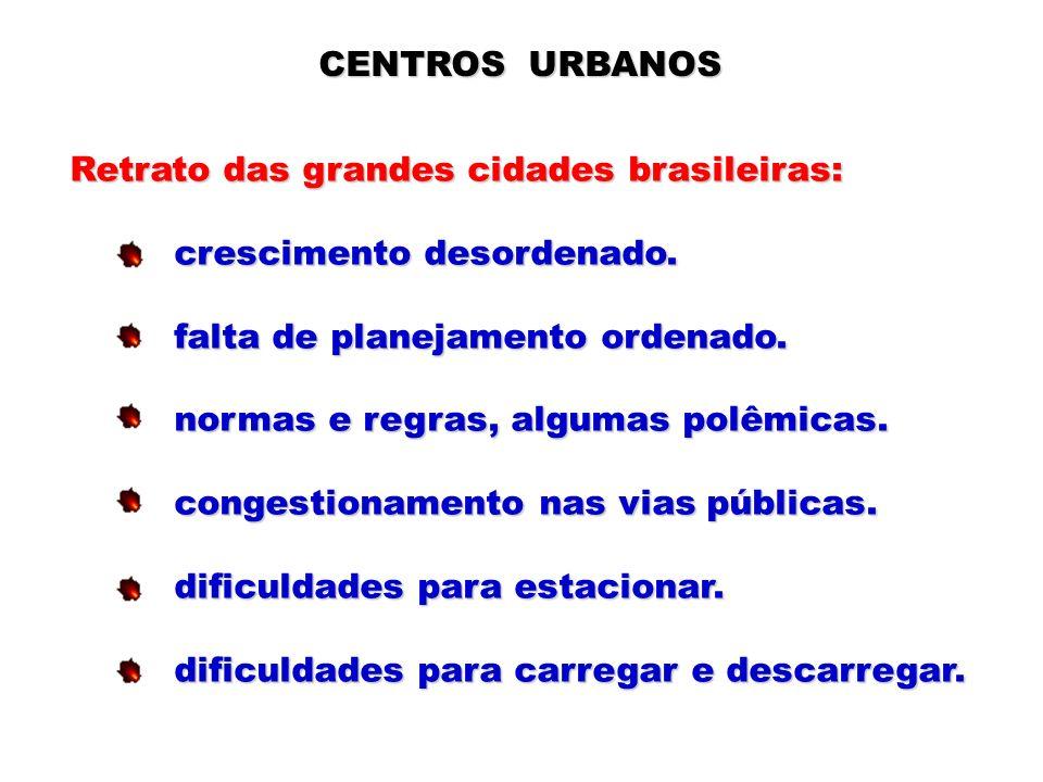 CENTROS URBANOS Retrato das grandes cidades brasileiras: crescimento desordenado. crescimento desordenado. falta de planejamento ordenado. falta de pl