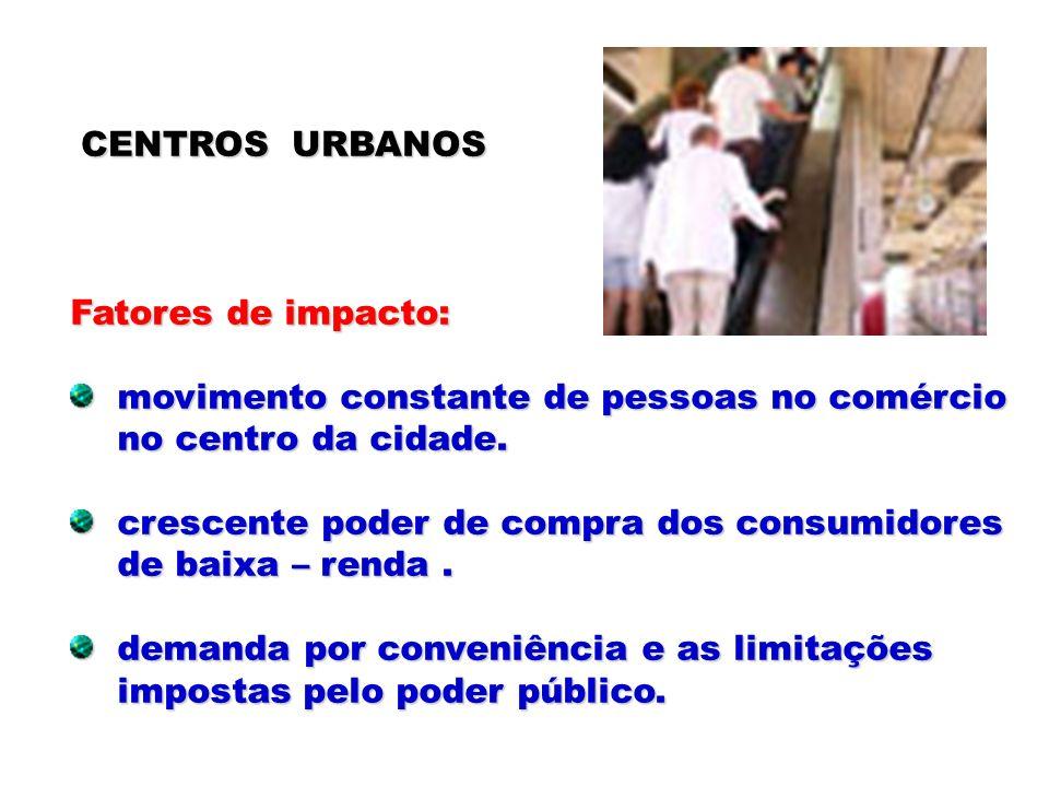 CENTROS URBANOS Fatores de impacto: movimento constante de pessoas no comércio movimento constante de pessoas no comércio no centro da cidade. no cent