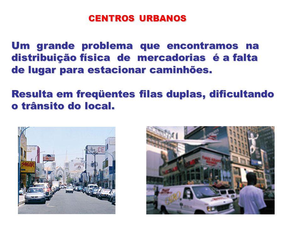 CENTROS URBANOS Um grande problema que encontramos na distribuição física de mercadorias é a falta de lugar para estacionar caminhões. Resulta em freq