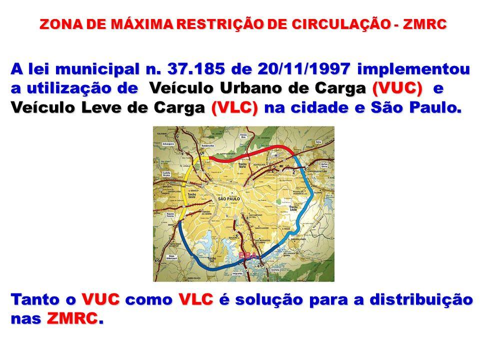 ZONA DE MÁXIMA RESTRIÇÃO DE CIRCULAÇÃO - ZMRC A lei municipal n. 37.185 de 20/11/1997 implementou a utilização de Veículo Urbano de Carga (VUC) e Veíc