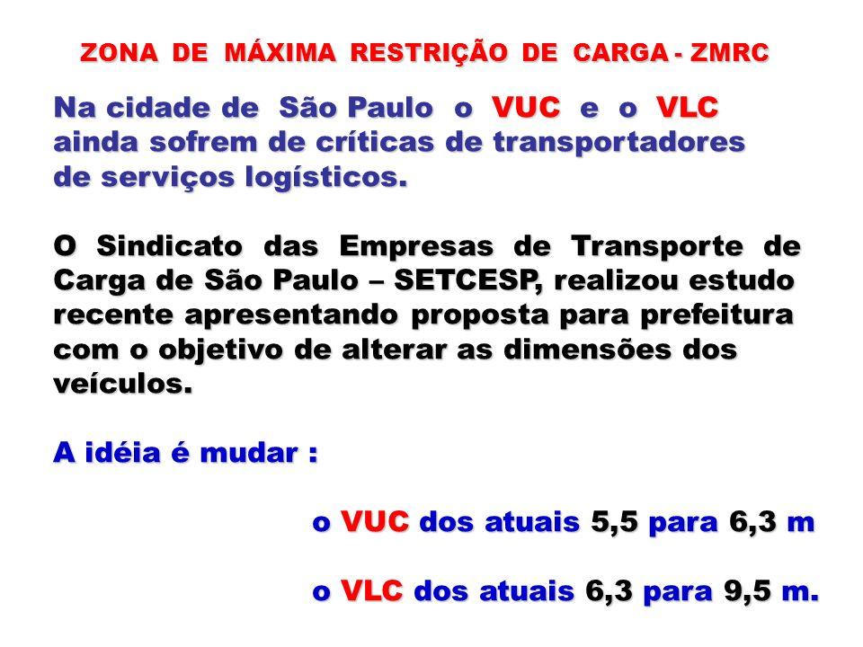ZONA DE MÁXIMA RESTRIÇÃO DE CARGA - ZMRC Na cidade de São Paulo o VUC e o VLC ainda sofrem de críticas de transportadores de serviços logísticos. O Si