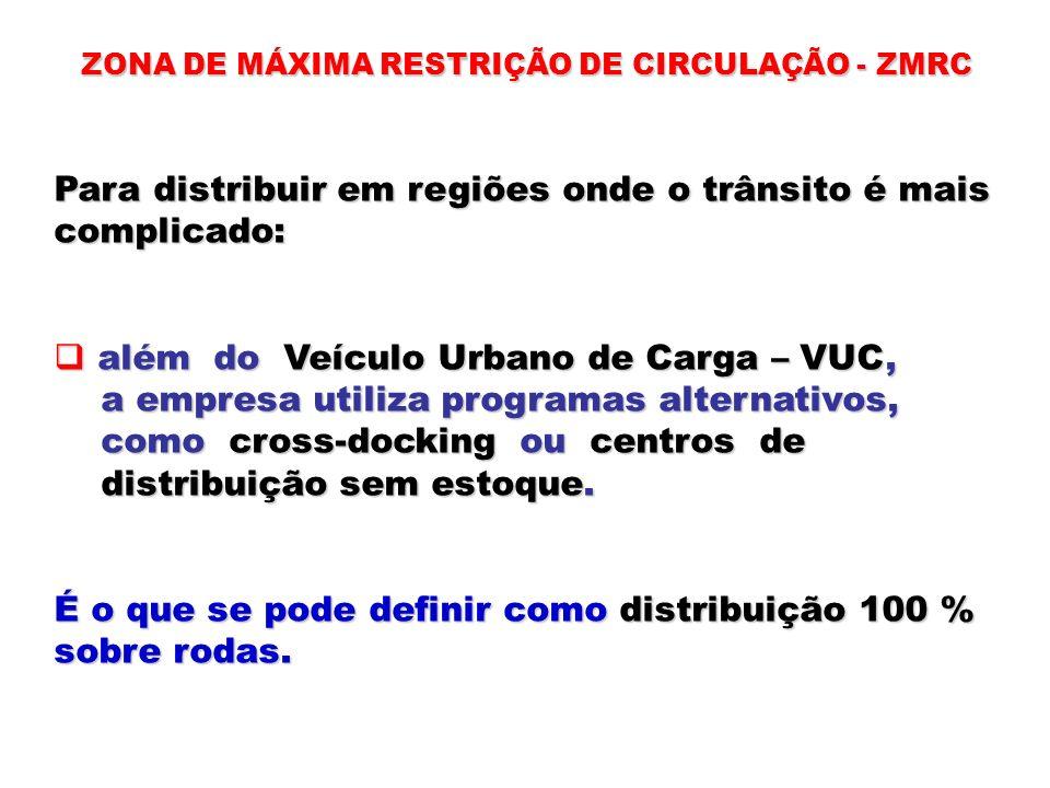 ZONA DE MÁXIMA RESTRIÇÃO DE CIRCULAÇÃO - ZMRC Para distribuir em regiões onde o trânsito é mais complicado: além do Veículo Urbano de Carga – VUC, alé