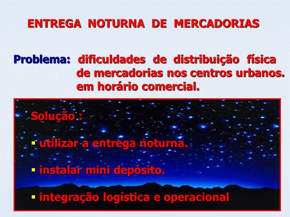 ENTREGA NOTURNA DE MERCADORIAS Problema: dificuldades de distribuição física de mercadorias nos centros urbanos. de mercadorias nos centros urbanos. e