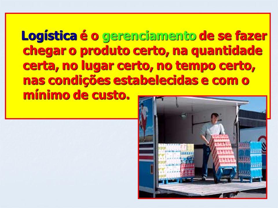 Logística é o gerenciamento de se fazer Logística é o gerenciamento de se fazer chegar o produto certo, na quantidade chegar o produto certo, na quant