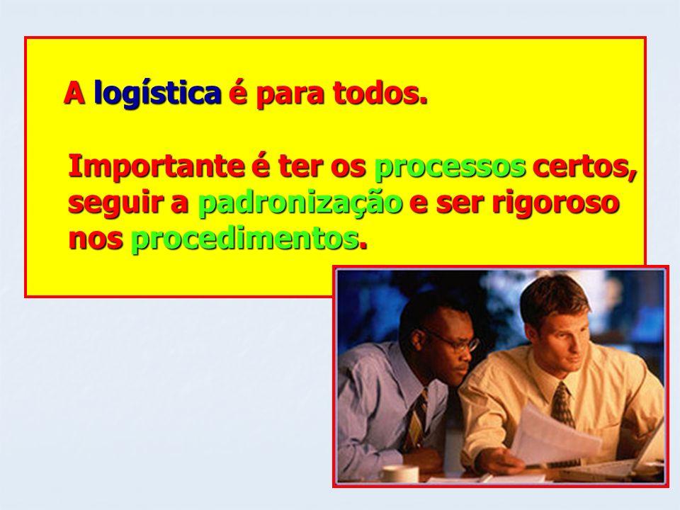 A logística é para todos. A logística é para todos. Importante é ter os processos certos, Importante é ter os processos certos, seguir a padronização