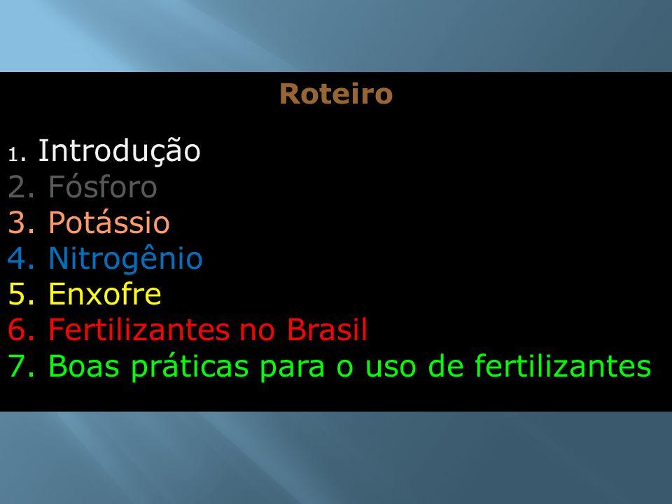 Roteiro 1. Introdução 2. Fósforo 3. Potássio 4. Nitrogênio 5. Enxofre 6. Fertilizantes no Brasil 7. Boas práticas para o uso de fertilizantes