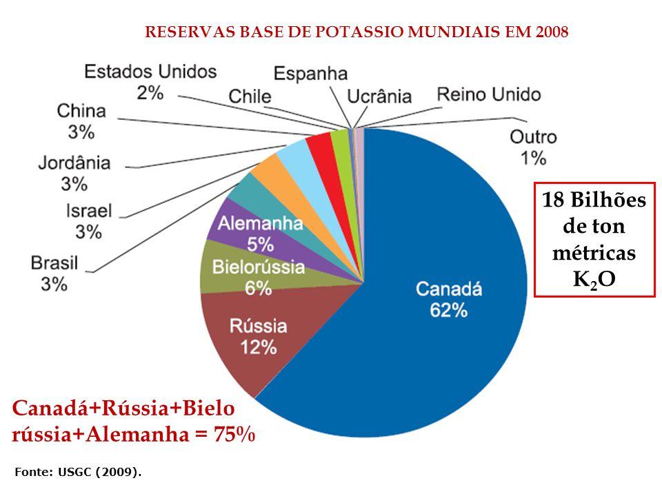 Fonte: USGC (2009). RESERVAS BASE DE POTASSIO MUNDIAIS EM 2008 18 Bilhões de ton métricas K 2 O Canadá+Rússia+Bielo rússia+Alemanha = 75%