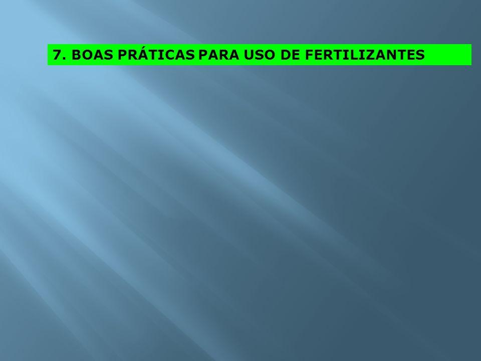 7. BOAS PRÁTICAS PARA USO DE FERTILIZANTES