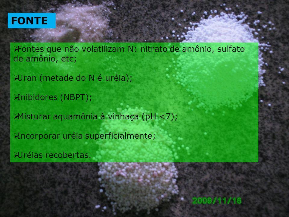 Fontes que não volatilizam N: nitrato de amônio, sulfato de amônio, etc; Uran (metade do N é uréia); Inibidores (NBPT); Misturar aquamônia à vinhaça (