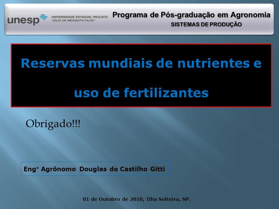 Reservas mundiais de nutrientes e uso de fertilizantes 01 de Outubro de 2010, Ilha Solteira, SP. Eng° Agrônomo Douglas de Castilho Gitti Obrigado!!!