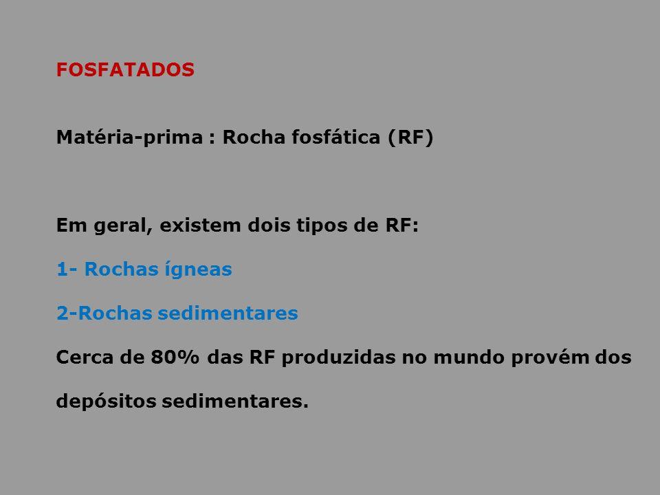 FOSFATADOS Matéria-prima : Rocha fosfática (RF) Em geral, existem dois tipos de RF: 1- Rochas ígneas 2-Rochas sedimentares Cerca de 80% das RF produzi