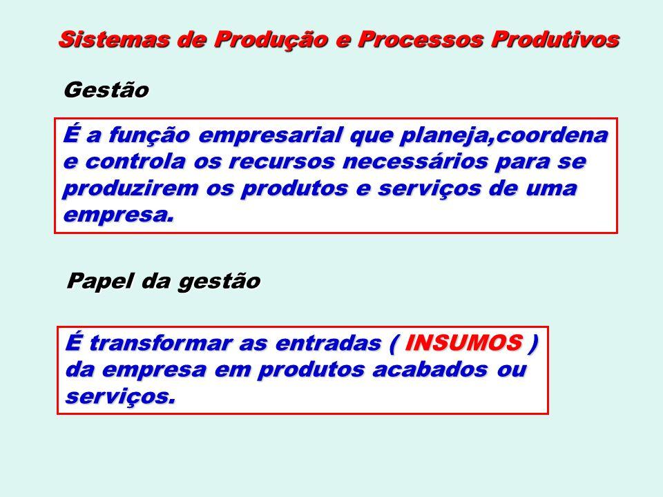 Processos Produtivos As operações intermitentes se dividem em: processos de projetos.