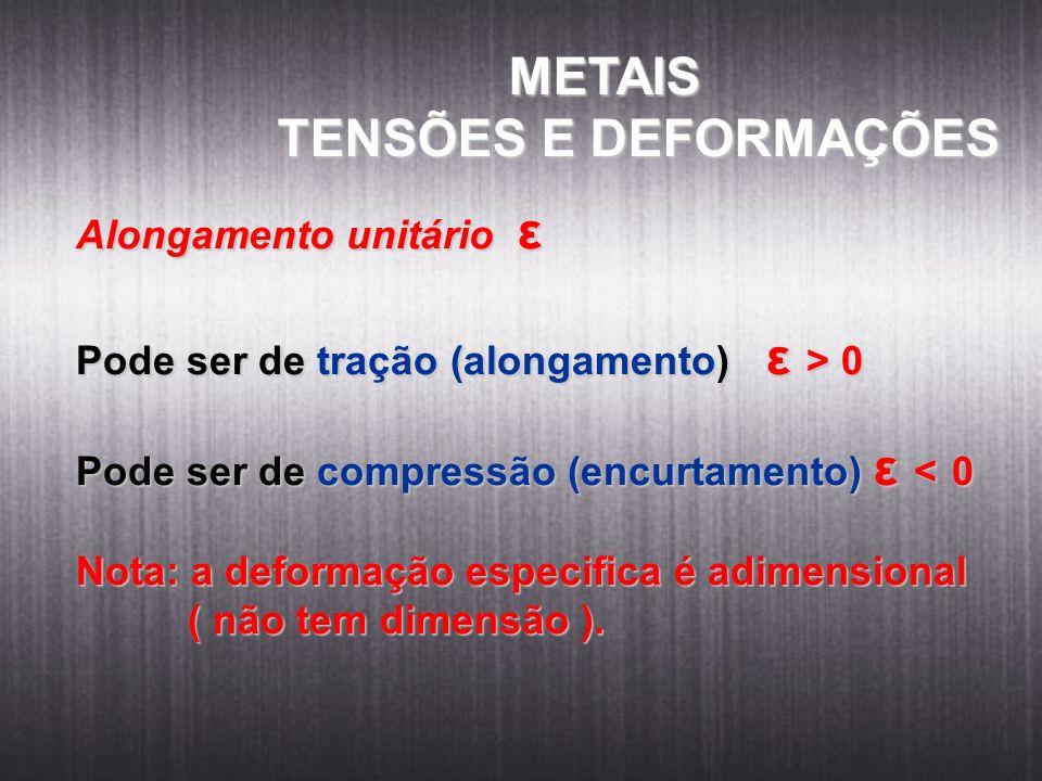 METAIS METAIS TENSÕES E DEFORMAÇÕES Alongamento unitário ε Pode ser de tração (alongamento) ε > 0 Pode ser de compressão (encurtamento) ε < 0 Nota: a