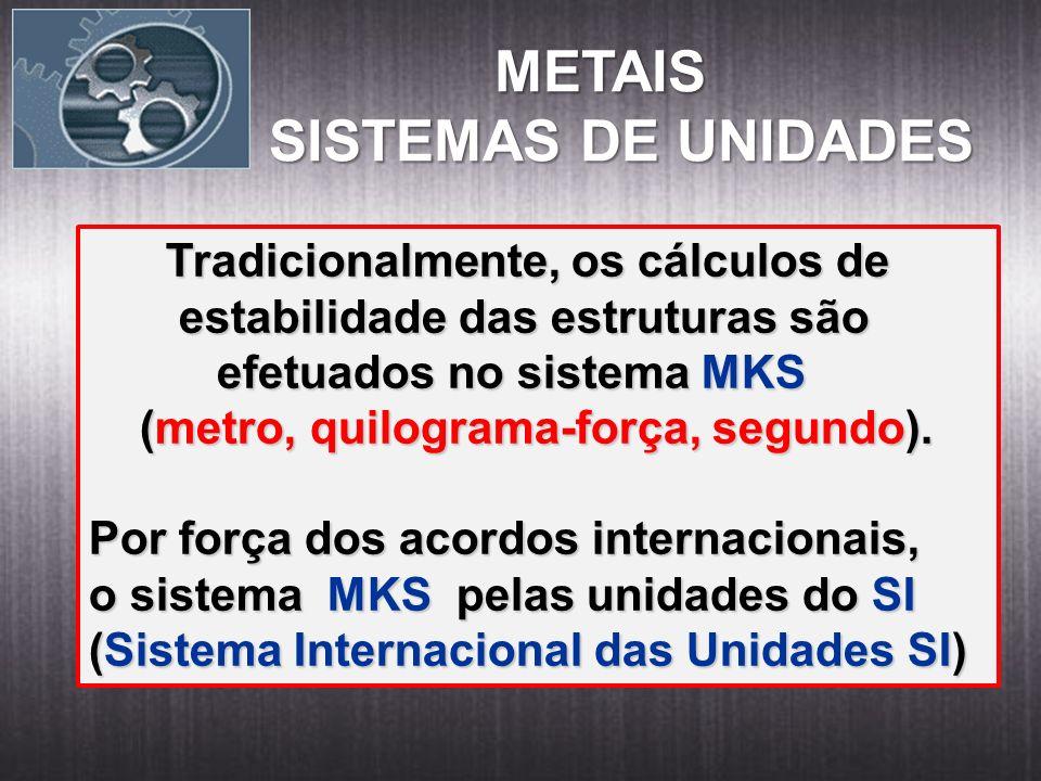 METAIS METAIS SISTEMAS DE UNIDADES Tradicionalmente, os cálculos de Tradicionalmente, os cálculos de estabilidade das estruturas são estabilidade das