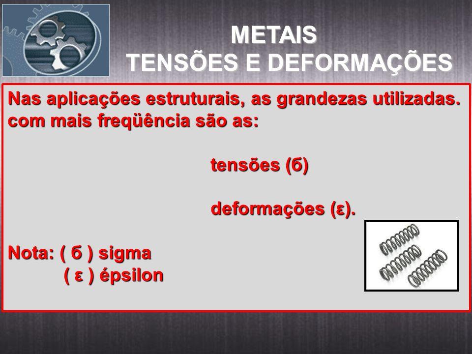 METAIS METAIS TENSÕES E DEFORMAÇÕES Nas aplicações estruturais, as grandezas utilizadas. com mais freqüência são as: tensões (б) tensões (б) deformaçõ