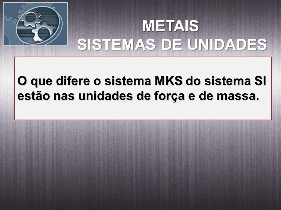 METAIS METAIS SISTEMAS DE UNIDADES O que difere o sistema MKS do sistema SI estão nas unidades de força e de massa.