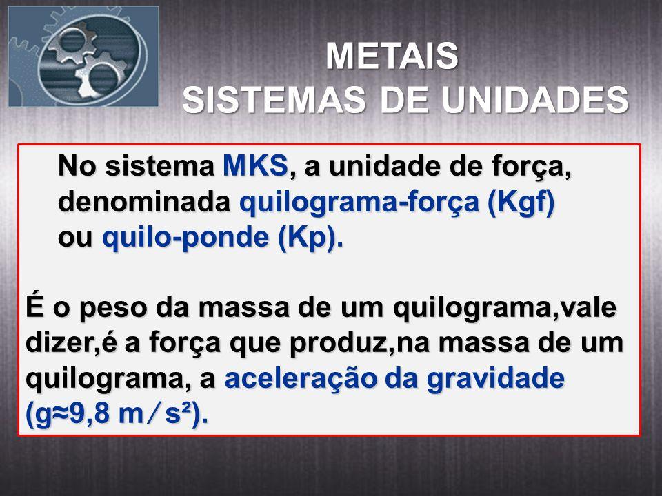 METAIS METAIS SISTEMAS DE UNIDADES No sistema MKS, a unidade de força, No sistema MKS, a unidade de força, denominada quilograma-força (Kgf) denominad