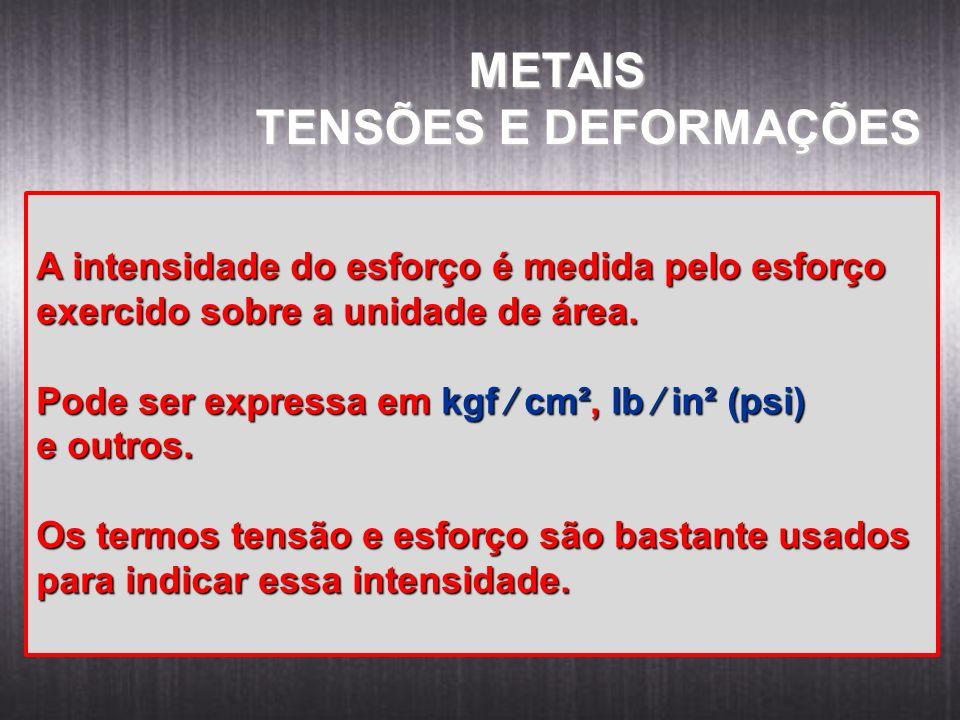 METAIS METAIS TENSÕES E DEFORMAÇÕES A intensidade do esforço é medida pelo esforço exercido sobre a unidade de área. Pode ser expressa em kgf cm², lb