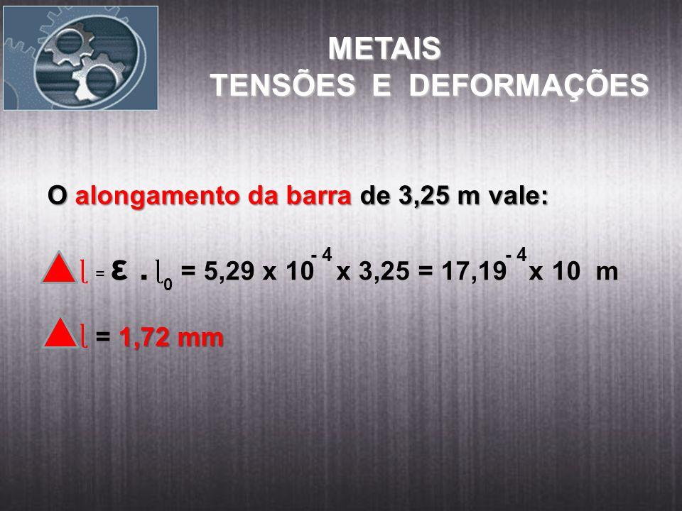 METAIS METAIS TENSÕES E DEFORMAÇÕES O alongamento da barra de 3,25 m vale: ɭ = ε. = 5,29 x 10 x 3,25 = 17,19 x 10 m 1,72 mm = 1,72 mm ɭ - 4 ɭ 0
