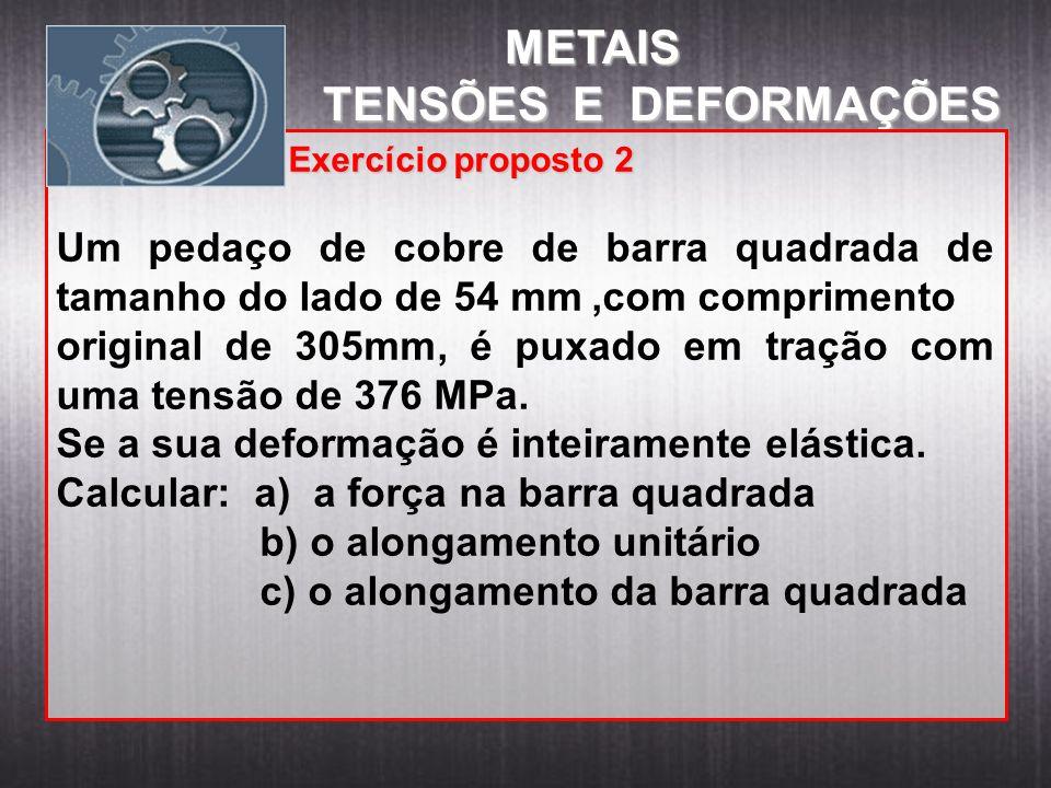 METAIS METAIS TENSÕES E DEFORMAÇÕES Exercício proposto 2 Exercício proposto 2 Um pedaço de cobre de barra quadrada de tamanho do lado de 54 mm,com com