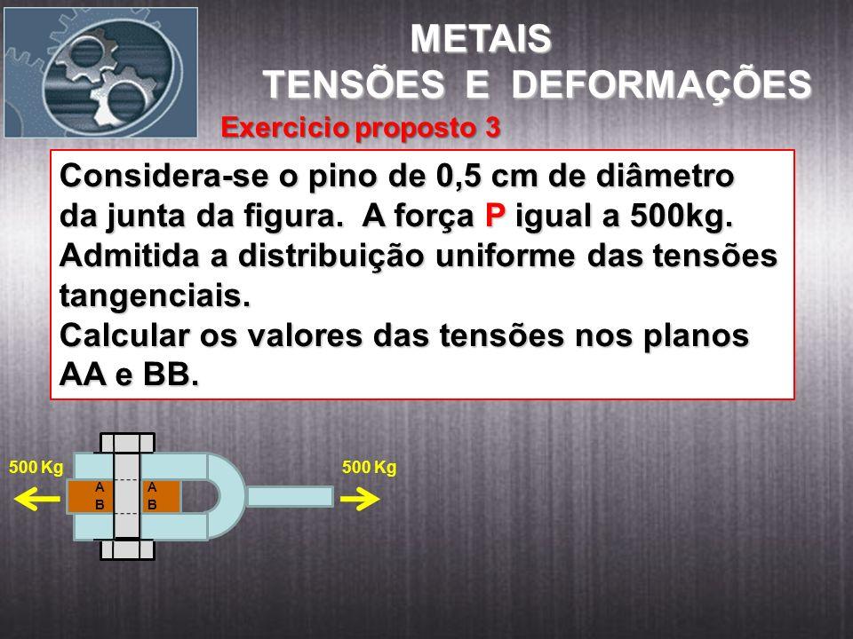 Considera-se o pino de 0,5 cm de diâmetro da junta da figura. A força P igual a 500kg. Admitida a distribuição uniforme das tensões tangenciais. Calcu