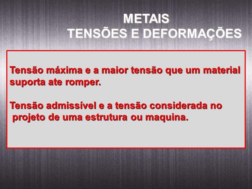 METAIS METAIS TENSÕES E DEFORMAÇÕES Tensão máxima e a maior tensão que um material suporta ate romper. Tensão admissível e a tensão considerada no pro