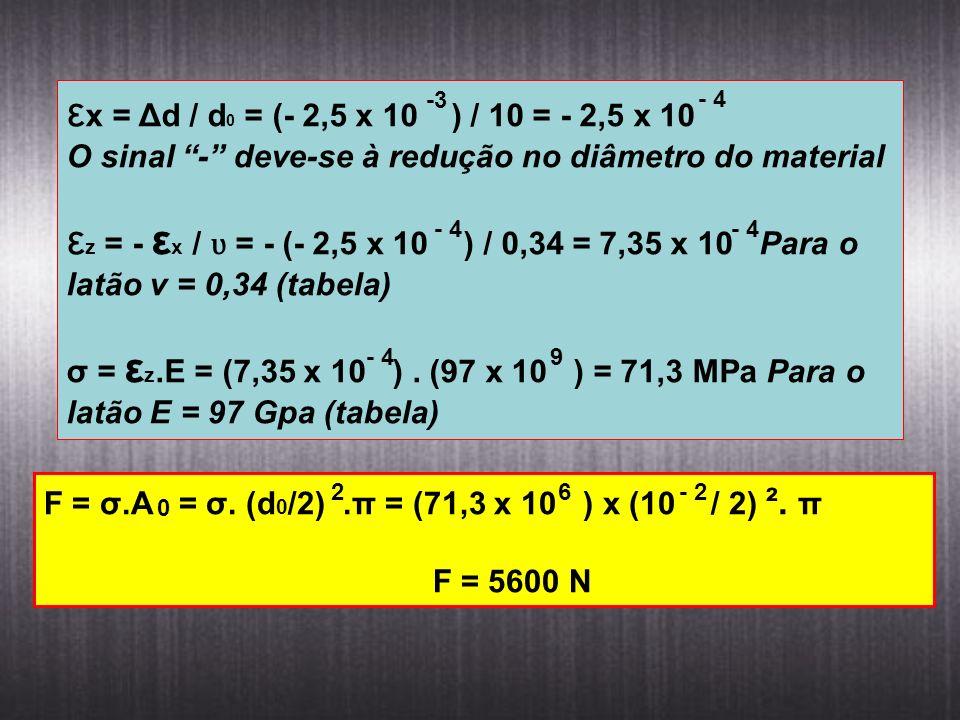 ε x = Δd / d 0 = (- 2,5 x 10 ) / 10 = - 2,5 x 10 O sinal - deve-se à redução no diâmetro do material ε z = - ε x / ʋ = - (- 2,5 x 10 ) / 0,34 = 7,35 x
