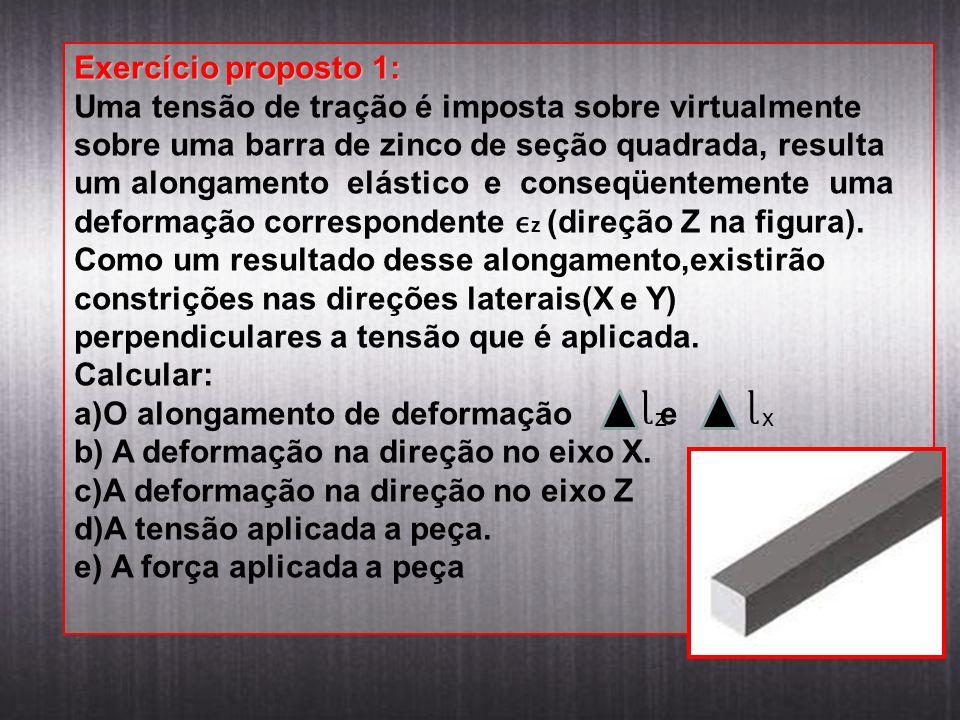 Exercício proposto 1: Uma tensão de tração é imposta sobre virtualmente sobre uma barra de zinco de seção quadrada, resulta um alongamento elástico e