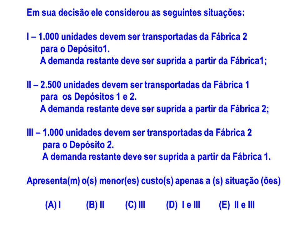 Em sua decisão ele considerou as seguintes situações: I – 1.000 unidades devem ser transportadas da Fábrica 2 para o Depósito1. para o Depósito1. A de