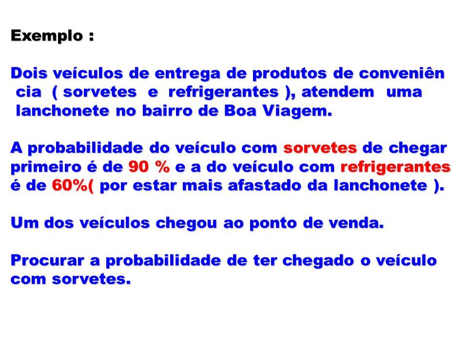 Exemplo : Dois veículos de entrega de produtos de conveniên cia ( sorvetes e refrigerantes ), atendem uma cia ( sorvetes e refrigerantes ), atendem um
