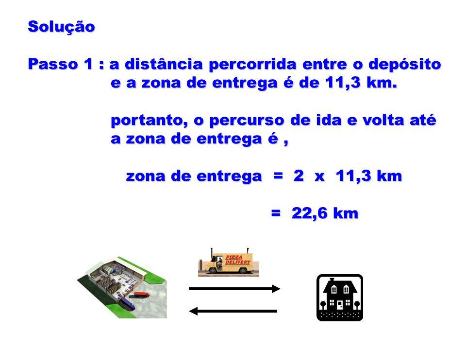 Solução Passo 1 : a distância percorrida entre o depósito e a zona de entrega é de 11,3 km. e a zona de entrega é de 11,3 km. portanto, o percurso de