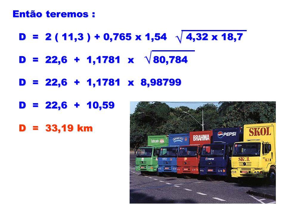 Então teremos : D = 2 ( 11,3 ) + 0,765 x 1,54 4,32 x 18,7 D = 2 ( 11,3 ) + 0,765 x 1,54 4,32 x 18,7 D = 22,6 + 1,1781 x 80,784 D = 22,6 + 1,1781 x 80,