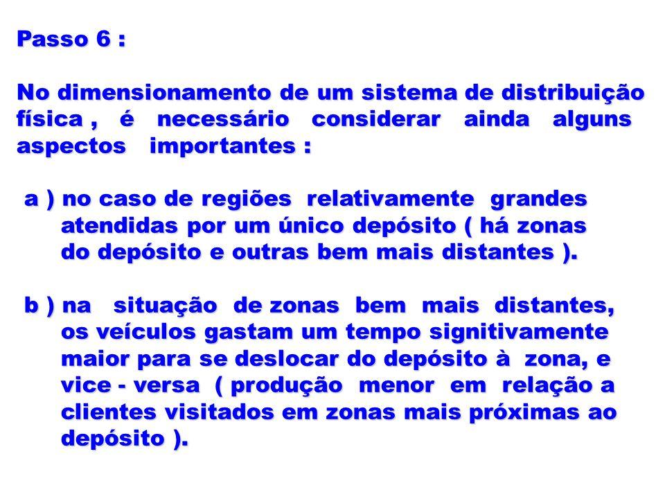 Passo 6 : No dimensionamento de um sistema de distribuição física, é necessário considerar ainda alguns aspectos importantes : a ) no caso de regiões
