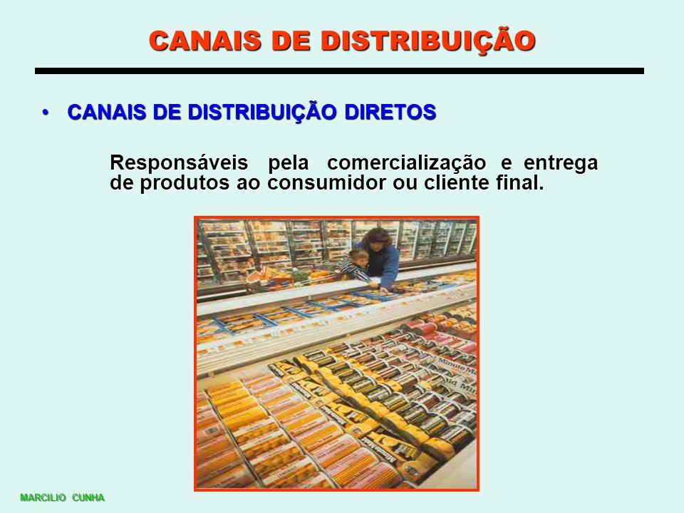 CANAIS DE DISTRIBUIÇÃO CANAIS DE DISTRIBUIÇÃO DIRETOSCANAIS DE DISTRIBUIÇÃO DIRETOS Responsáveis pela comercialização e entrega de produtos ao consumi
