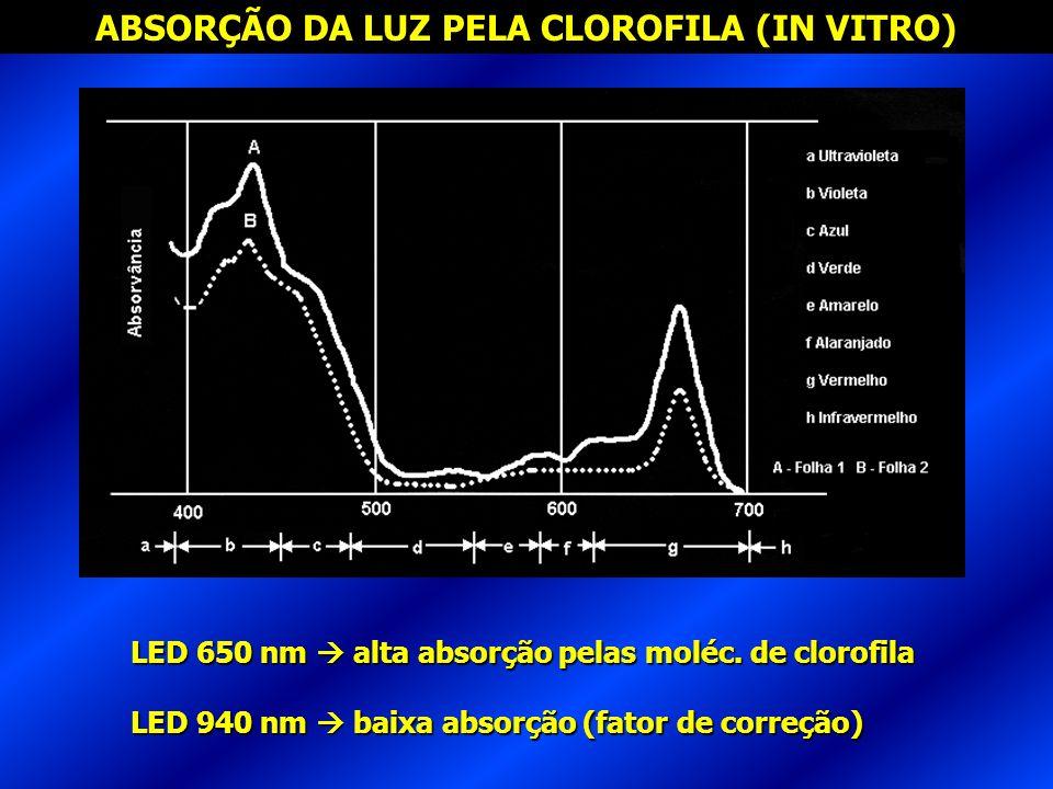 ABSORÇÃO DA LUZ PELA CLOROFILA (IN VITRO) LED 650 nm alta absorção pelas moléc. de clorofila LED 940 nm baixa absorção (fator de correção)