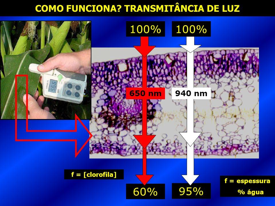 95% 60% COMO FUNCIONA? TRANSMITÂNCIA DE LUZ 100% 650 nm940 nm f = [clorofila] f = espessura % água
