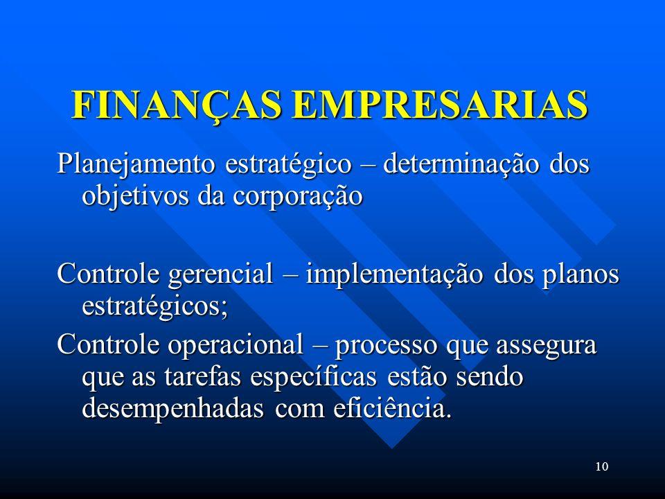10 FINANÇAS EMPRESARIAS Planejamento estratégico – determinação dos objetivos da corporação Controle gerencial – implementação dos planos estratégicos